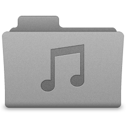Grey Music Folder Icon 256x256 png