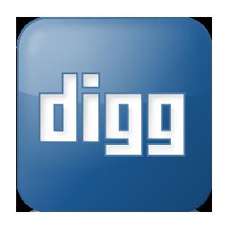 Social Digg Box Blue Icon 256x256 png