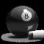Billiards 8-Ball Grey Icon 64x64 png