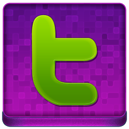 Pink Twitter Coloured Icon 256x256 png